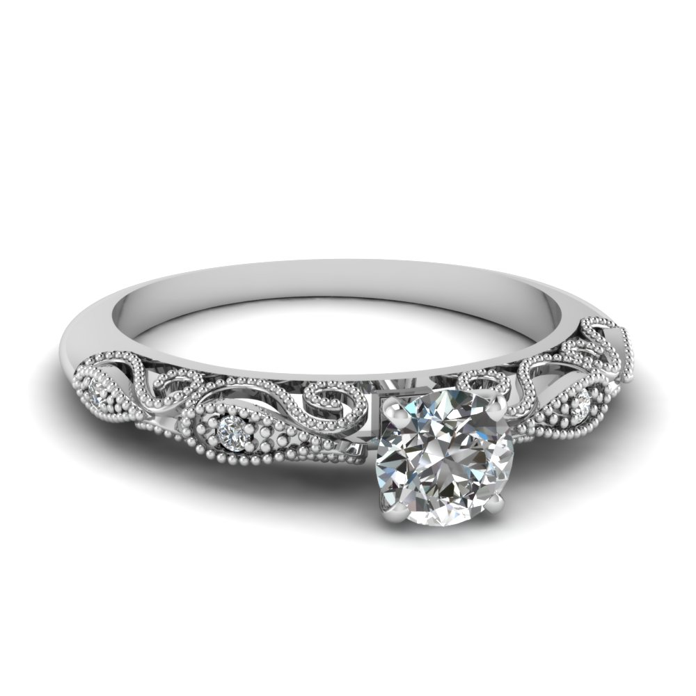 Round Cut Diamond Milgrain Engagement Rings With White Diamond In 14k White  Gold