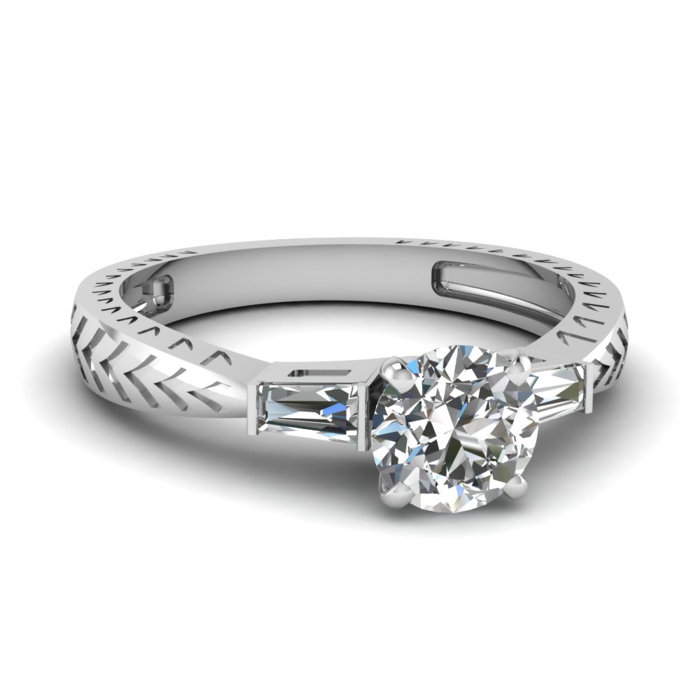Three Stone Round Cut Engagement Rings