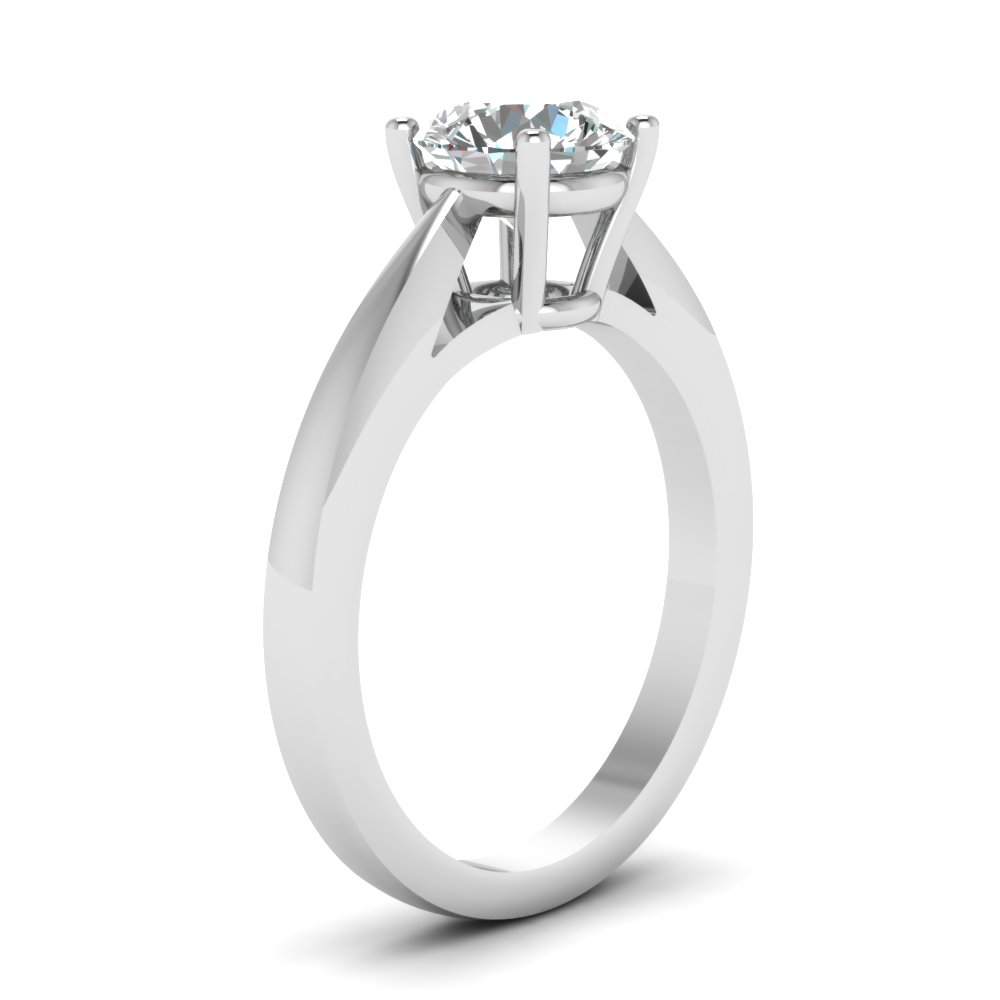 Round Cut Tapered Cathedral Solitaire Ring