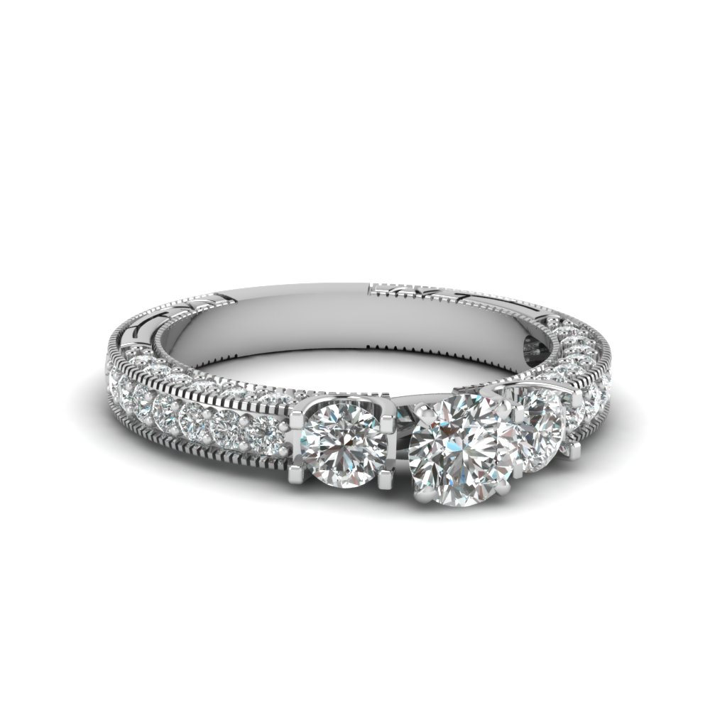 White Gold Milgrain Engagement Rings