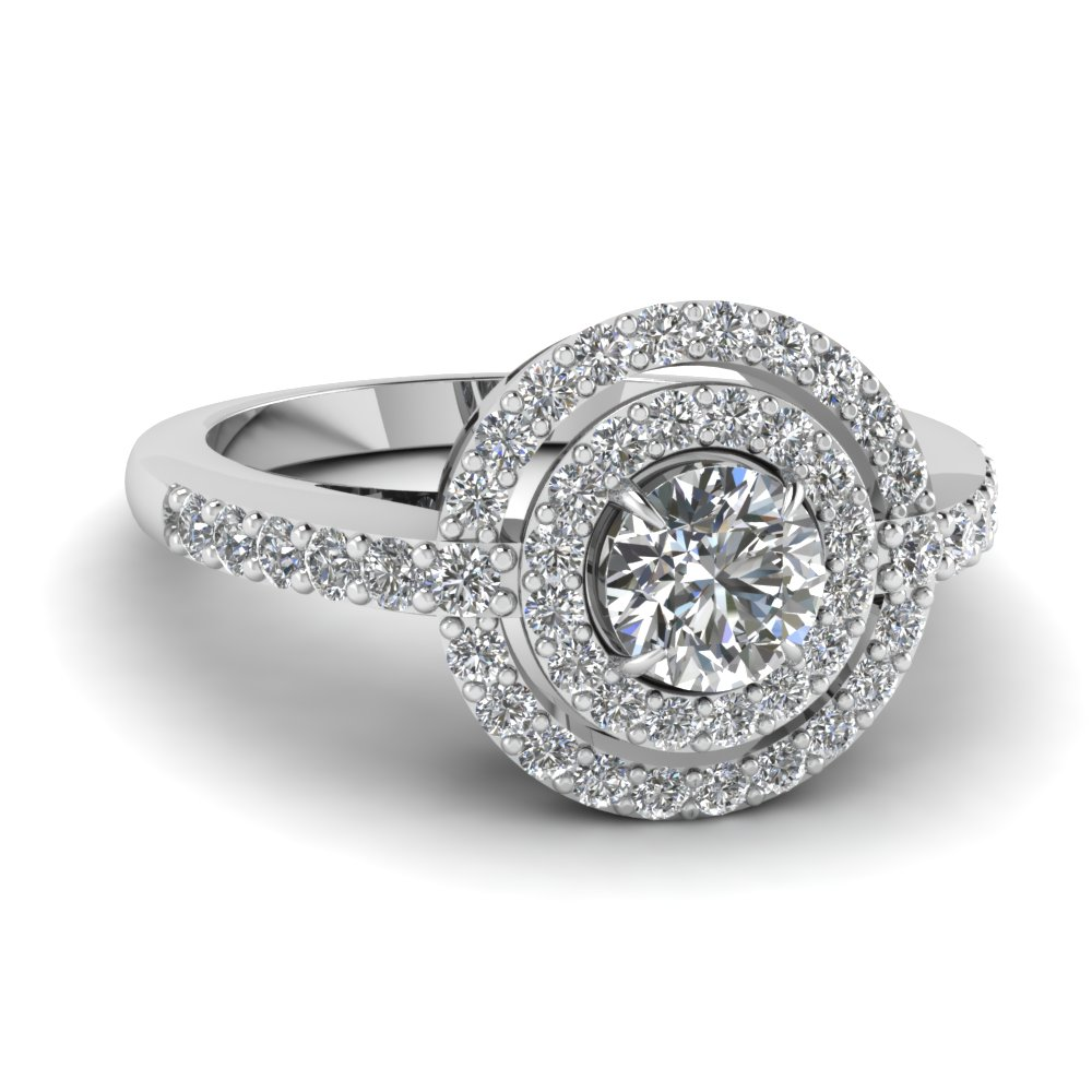 delicate double halo diamond engagement ring in FDENR8387ROR NL WG