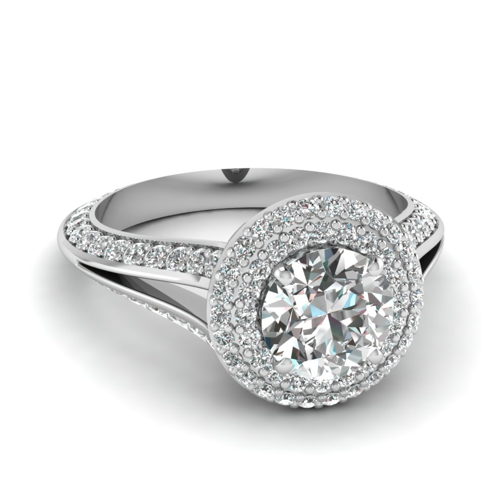 Micropave Split Shank Diamond Ring