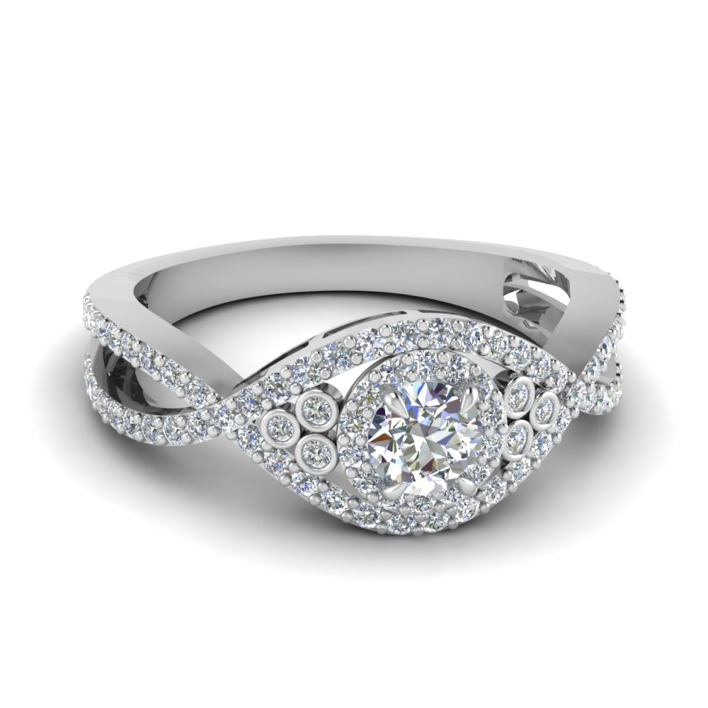round cut diamond engagement ring in 14K white gold FDENR9161ROR NL WG