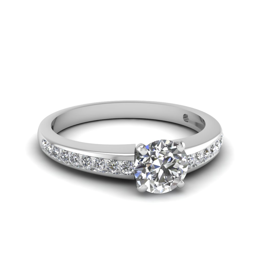 Channel Set Round Cut Diamond Engagement Ring For Women