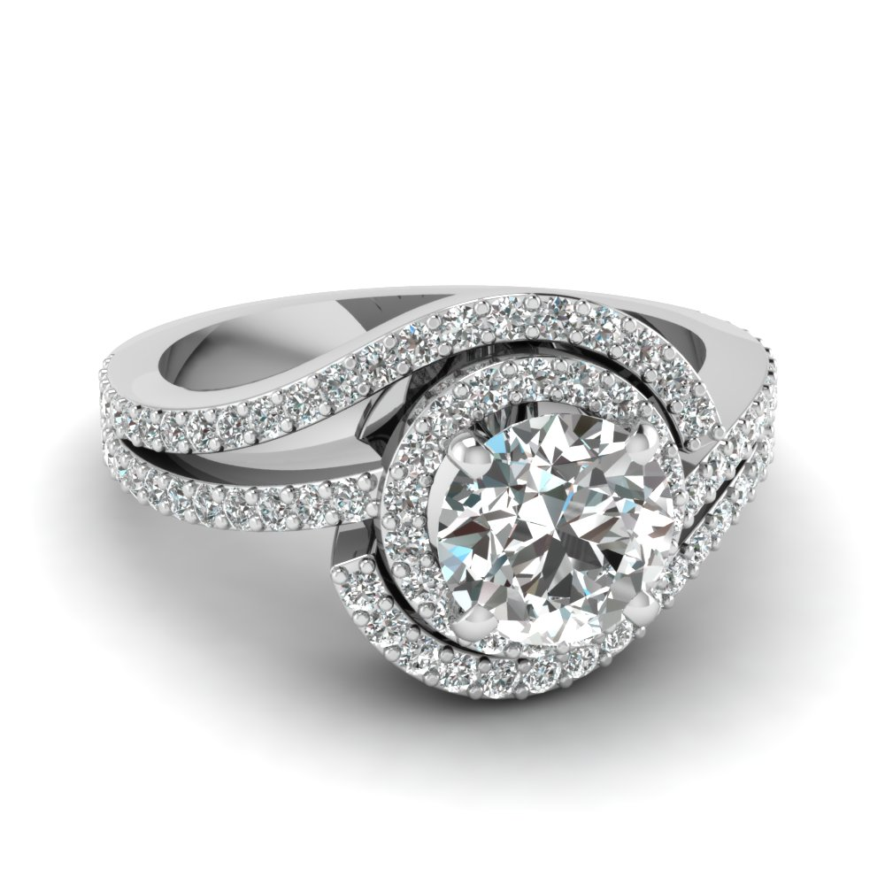 Round Diamond White Gold Double Halo Ring