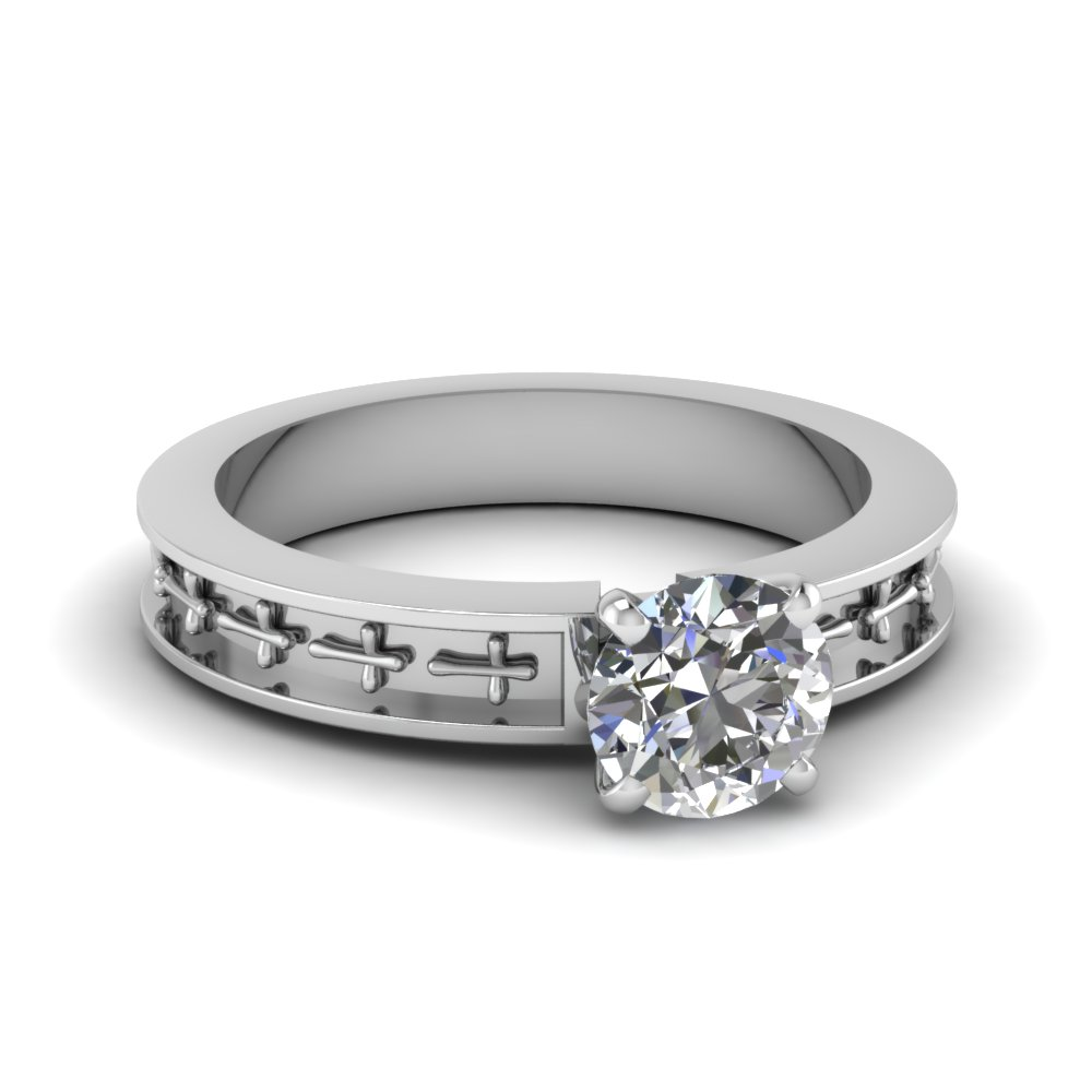Matching Cross Design Solitaire Ring