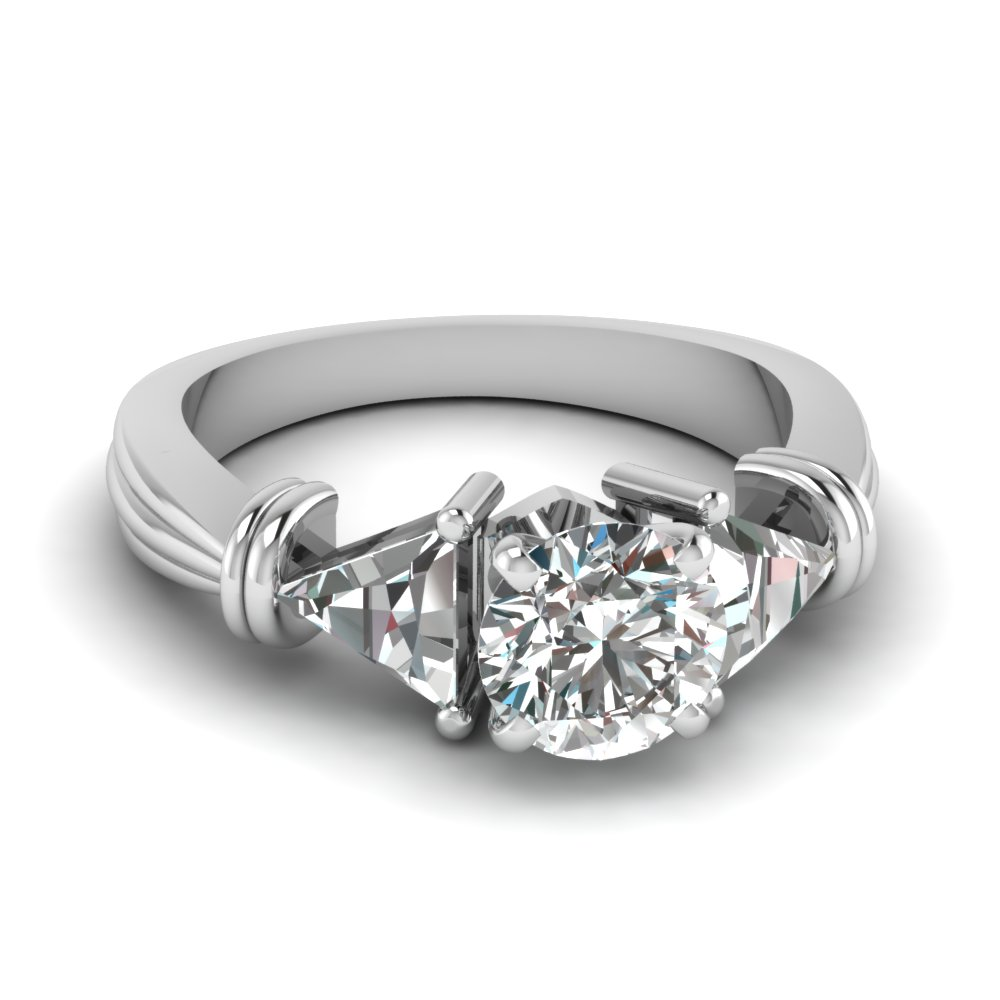 Triangular 3 Stone Round Engagement Rings