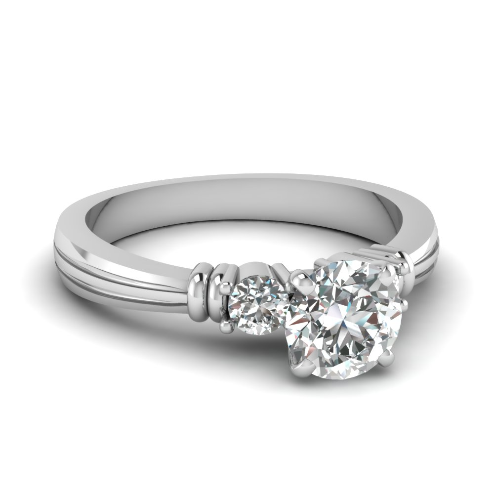 Tapered 3 Stone Engagement Ring