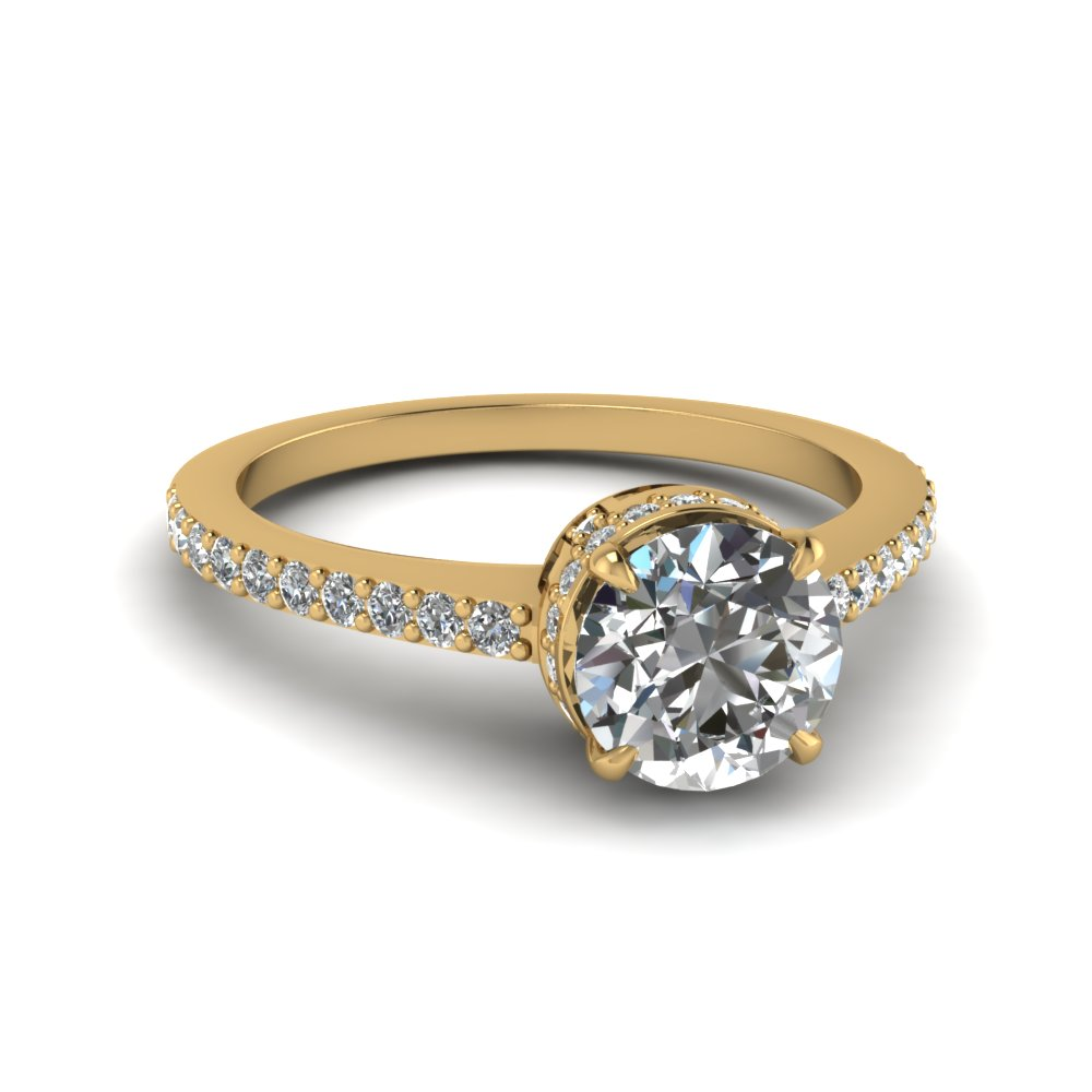 Petite French Pave Crown Diamond Ring