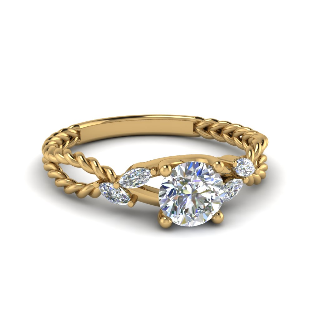 Braided Round Cut Engagement Ring