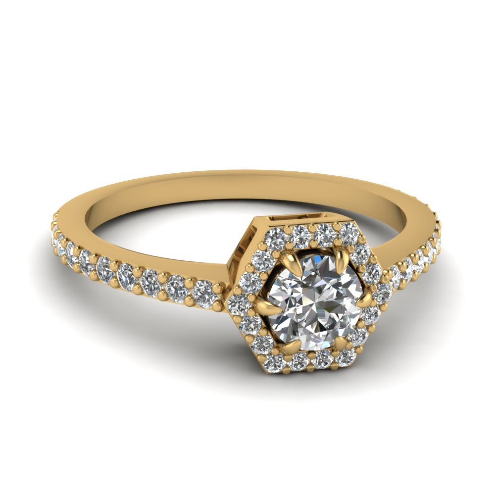 round cut diamond engagement ring in 14K yellow gold FD1173ROR NL YG