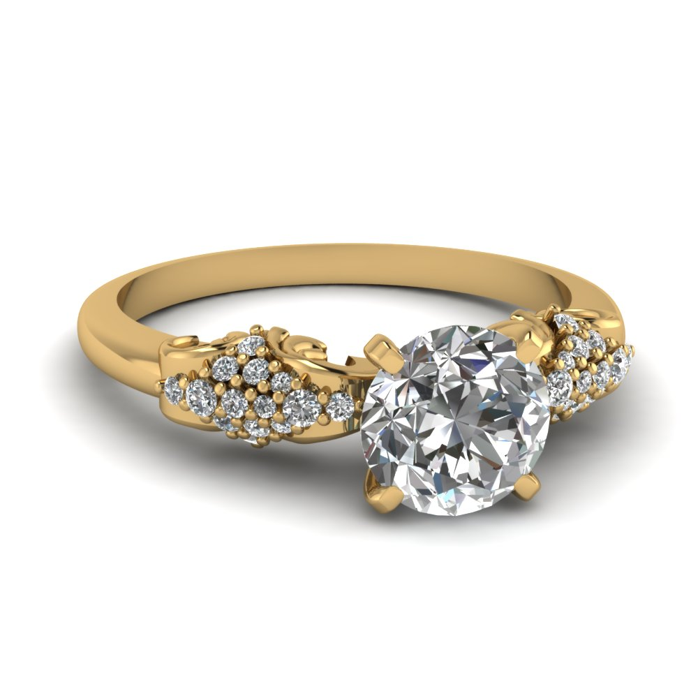 Pave Set Round Diamond Vintage Ring
