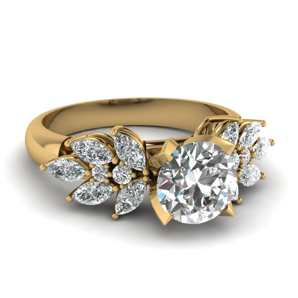2 Carat Diamond Marquise Petal Engagement Ring In 14K Yellow Gold ...
