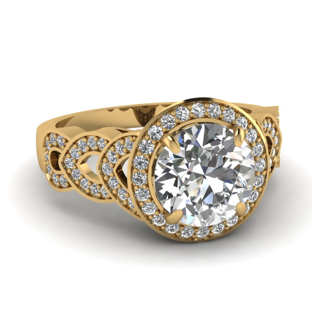 Round Cut Diamond Engagement Ring In 14K Yellow Gold Fascinating