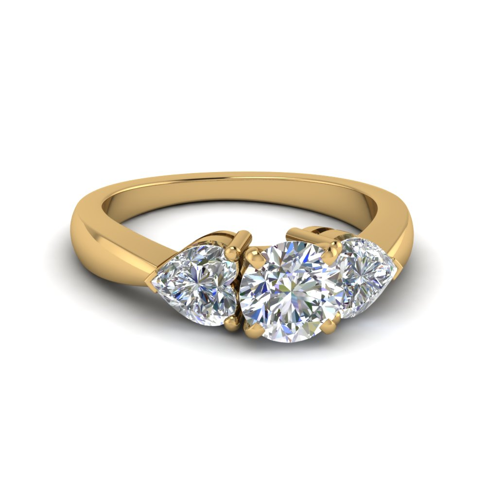 Trio 3 Stone Round Engagement Rings