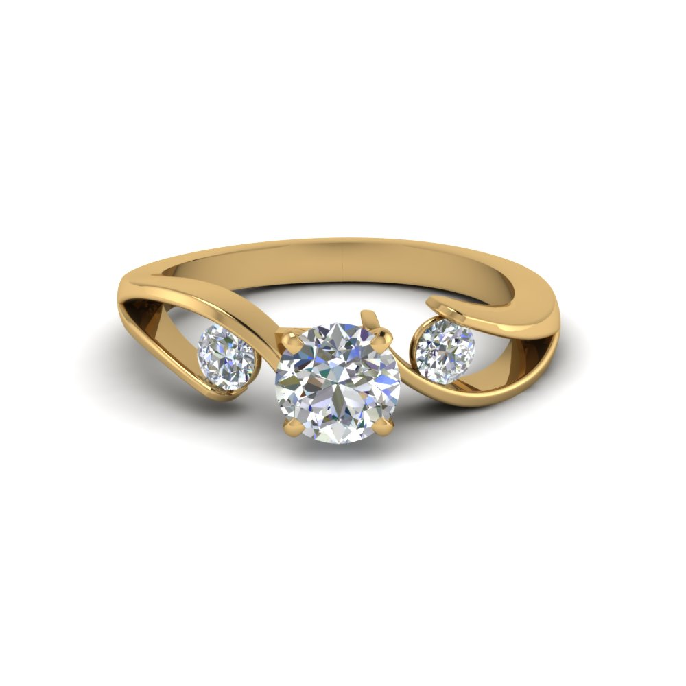 Round Cut Diamond 3 Stone Engagement Rings With White Diamond In 14k Yellow  Gold