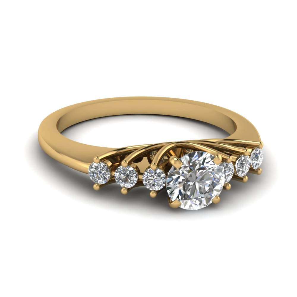 round cut diamond engagement ring in 14K yellow gold FDENR7719ROR NL YG