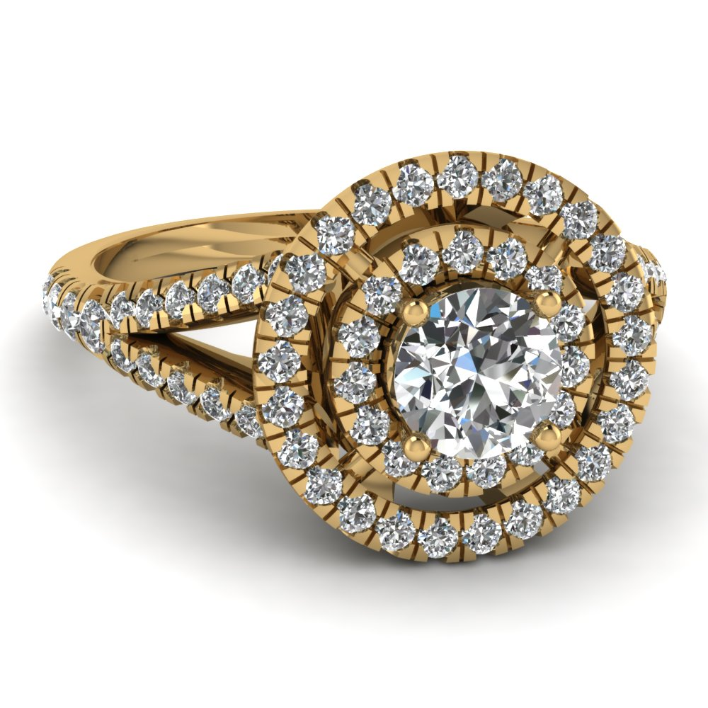 French Prong Round Diamond Double Halo Ring