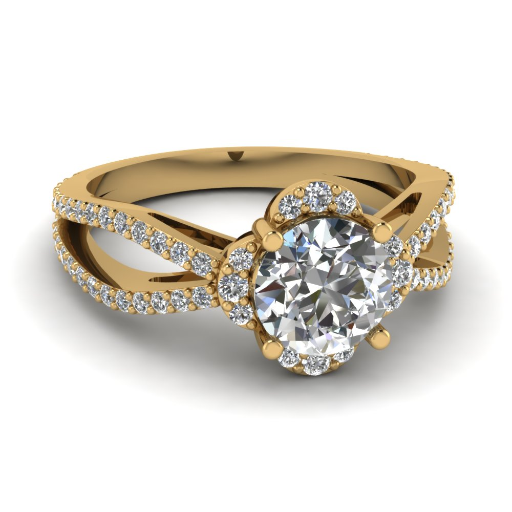 round cut diamond engagement ring in 14K yellow gold FDENR9310ROR NL YG