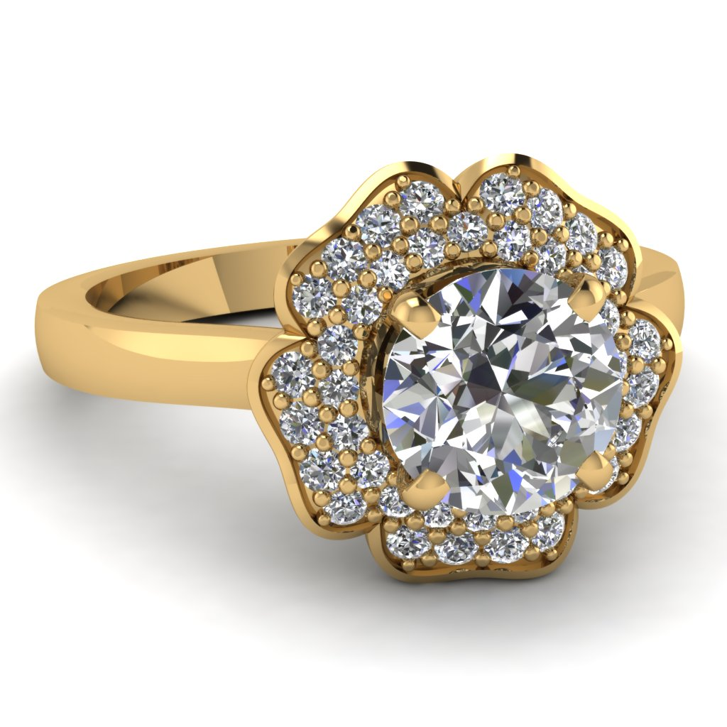 Beautiful Halo Flower Engagement Ring Gold
