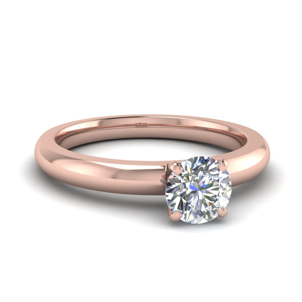 Round Cut Diamond Engagement Ring In 18k Rose Gold Fdenr8027ror Nl Rg
