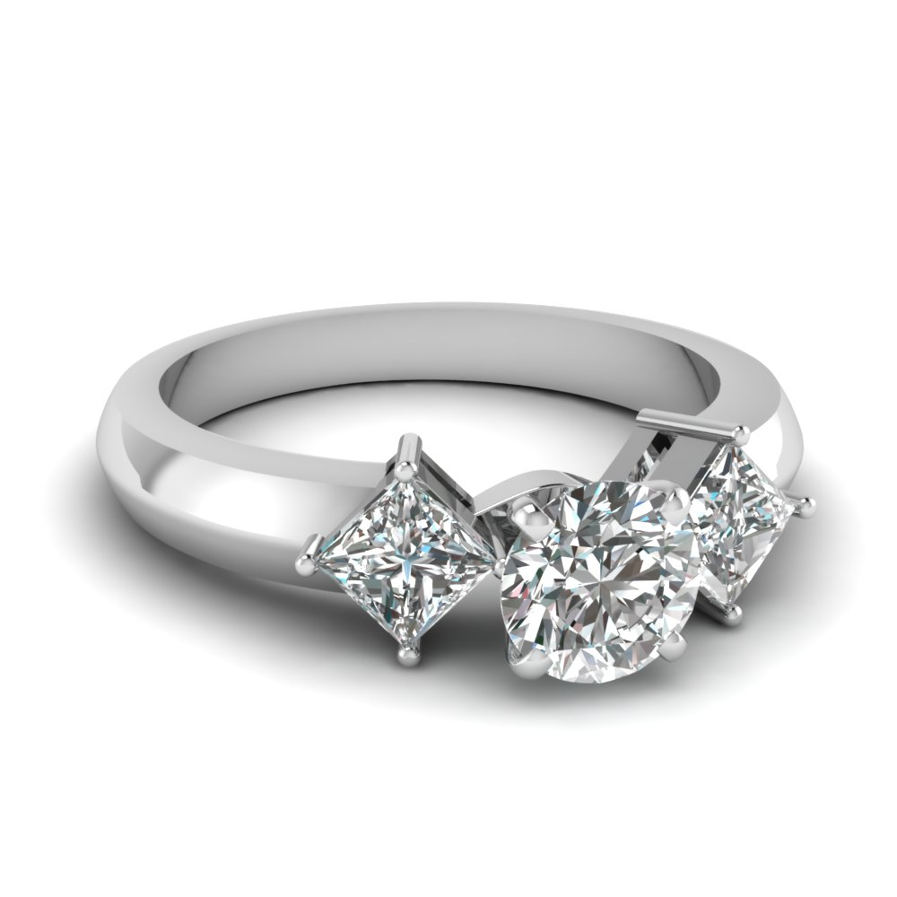 kite set 3 stone round cut engagement ring in FDENR263ROR NL WG