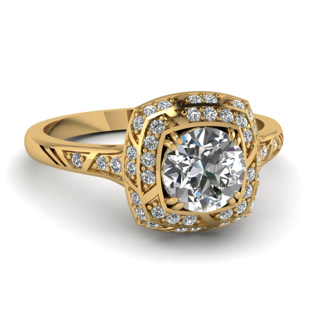 Micropave Antique Yellow Gold Double Halo Ring