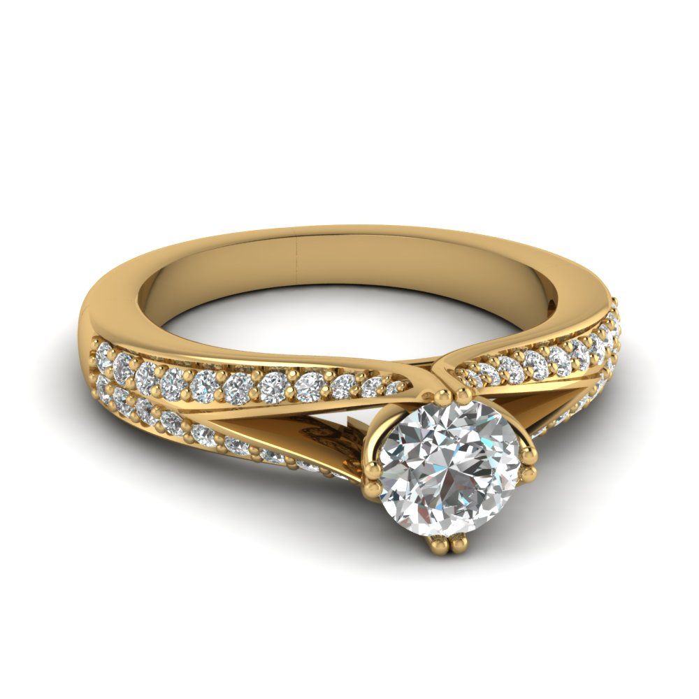 Micropave Round Yellow Gold Split Shank Ring
