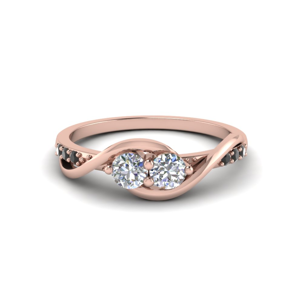 Two Stone Twist Round White and Black Diamond Engagement Ring in Rose gold