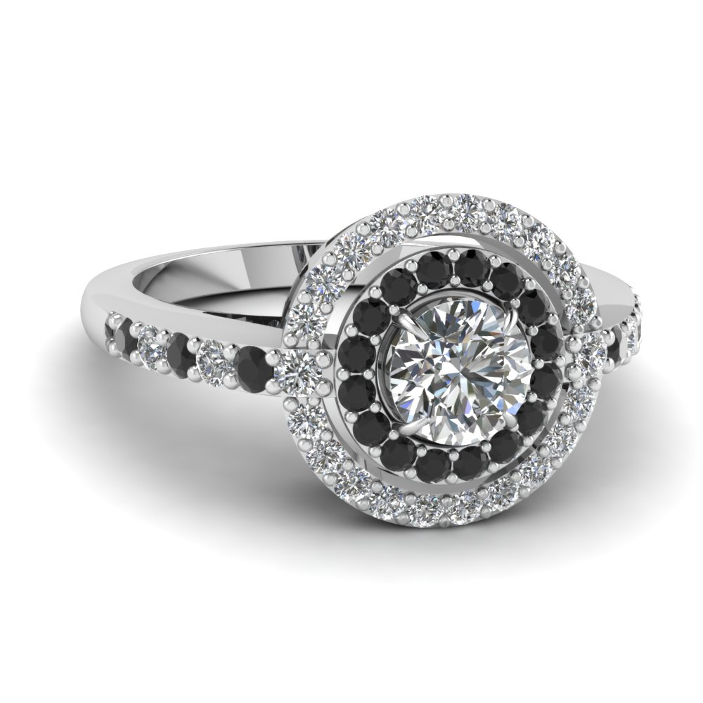 Double Halo White And Black Beautiful Diamond Engagement Ring