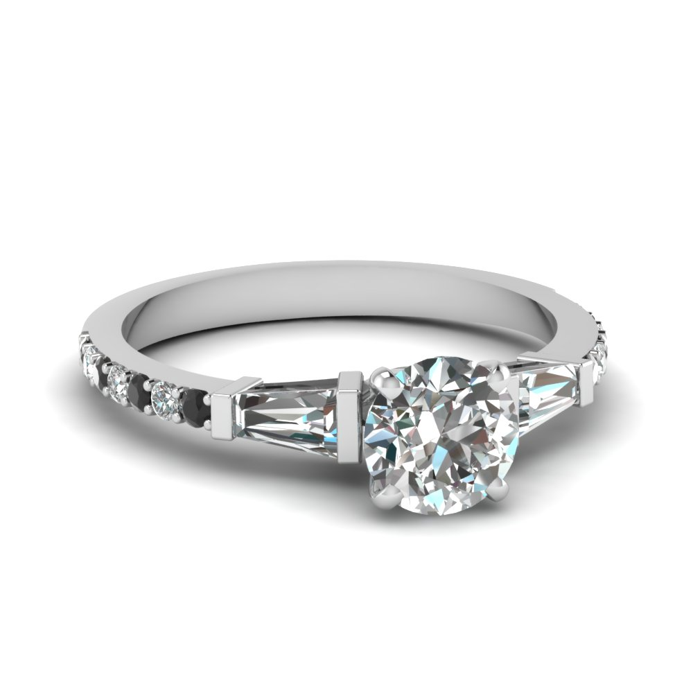 Thin Band Round Cut Engagement Ring in 14k White Gold