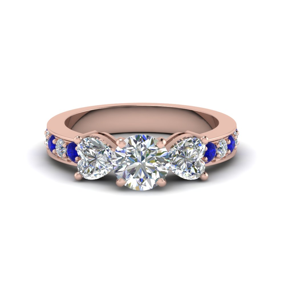 round cut pave 3 stone diamond engagement ring with sapphire in FD8031RORGSABL NL RG