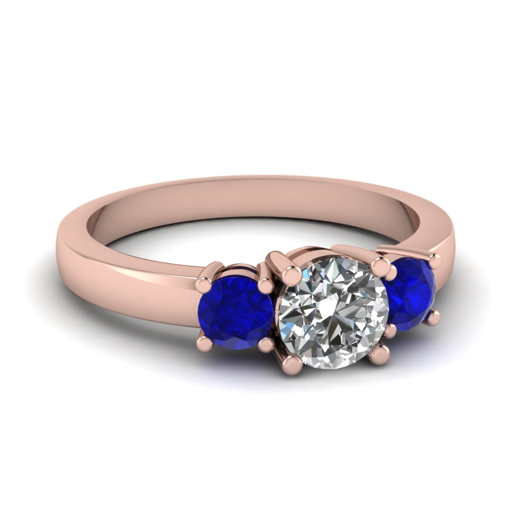 Rose Gold Round Diamond Sapphire Ring