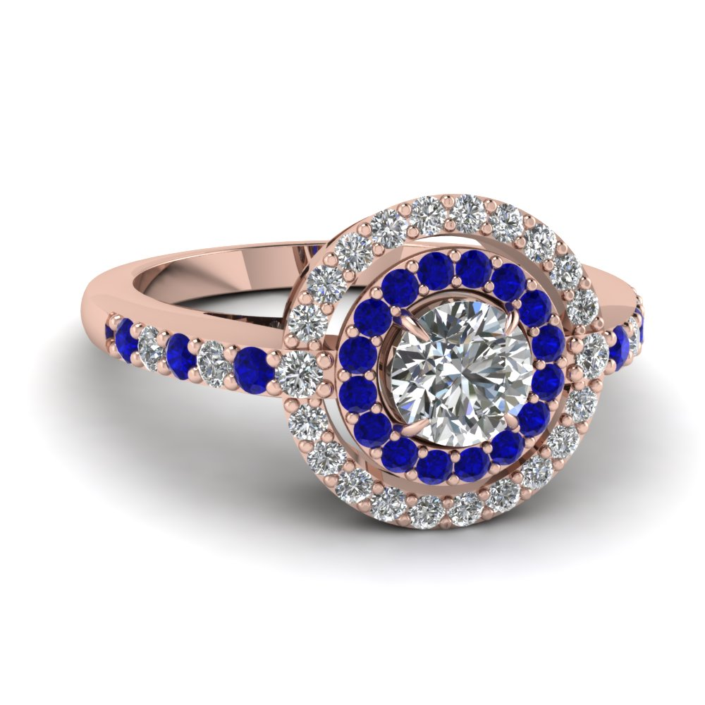 Round Diamond Blue Sapphire Double Halo Ring