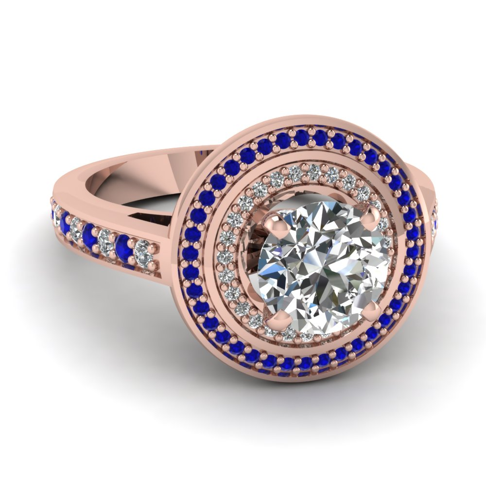 Have A Look At Our Blue Sapphire Double Halo Rings | Fascinating Diamonds