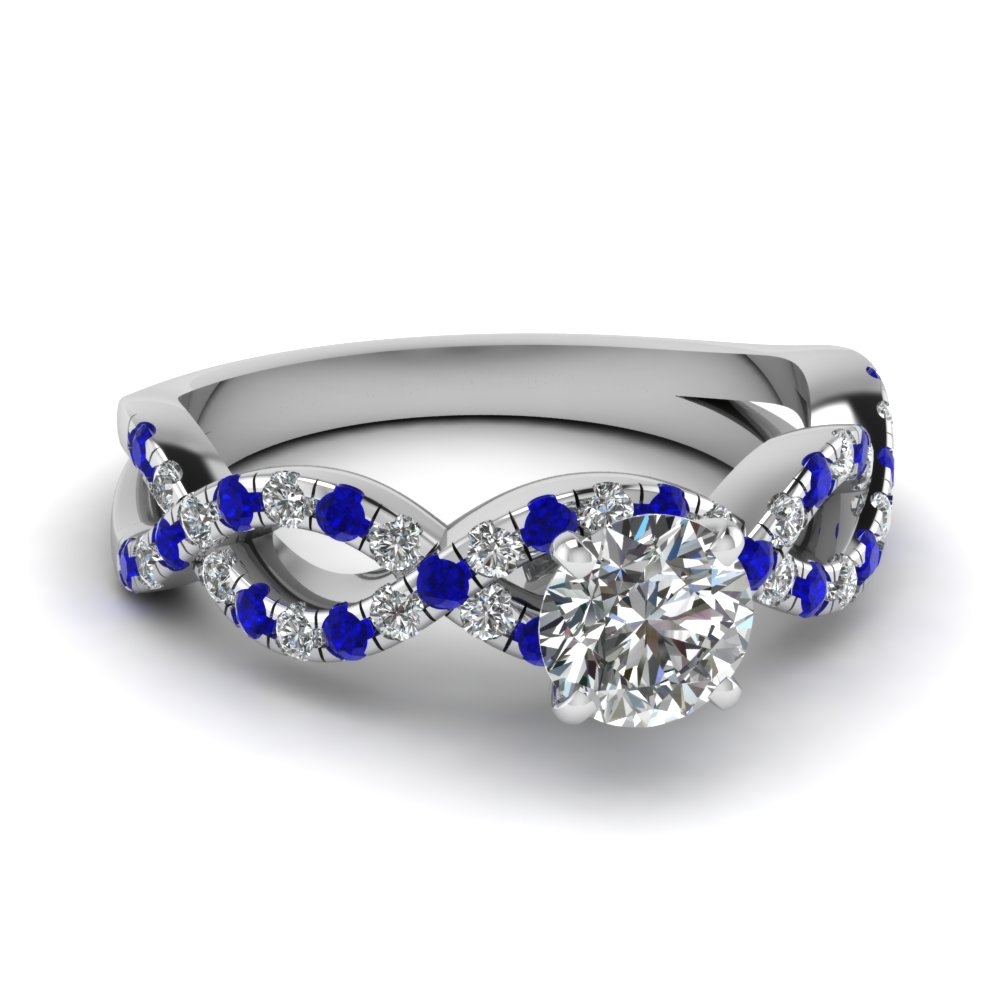 round cut infinity diamond ring with sapphire in FD1121RORGSABL NL WG.jpg