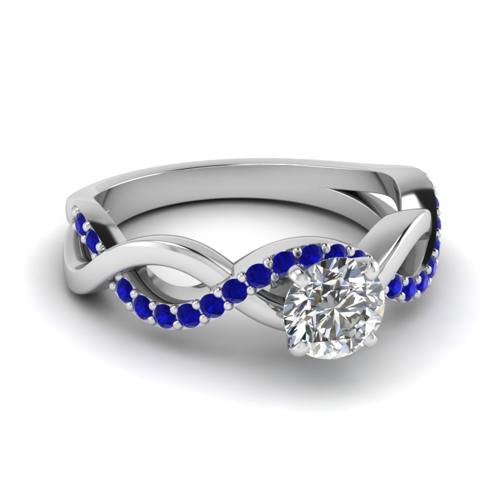 inifinity twist round diamond ring(0.50 ct.) with sapphire in FD1122RORGSABL NL WG GS