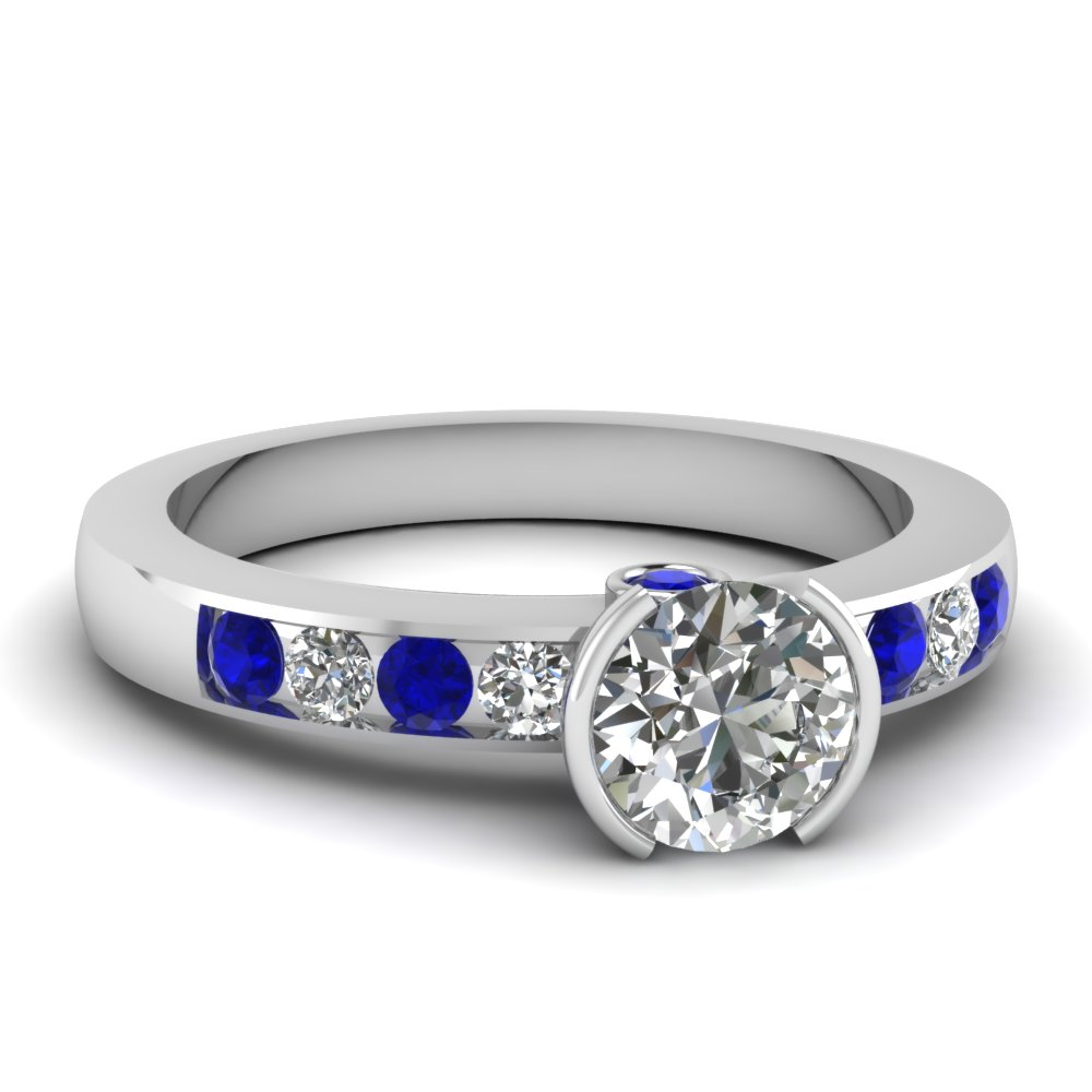 round cut diamond engagement ring with blue sapphire in 14K white gold FDENR3077RORGSABL NL WG