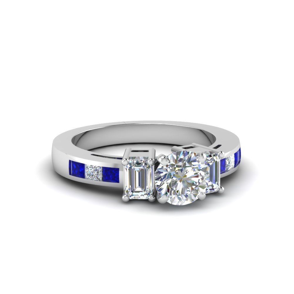 3 Stone Round Cut Diamond and Sapphire Engagement Ring
