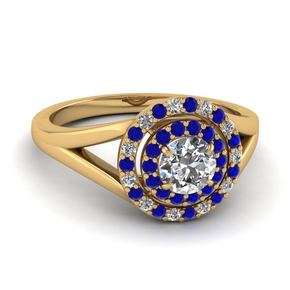 Brilliant Diamond Blue Sapphire Double Halo Ring