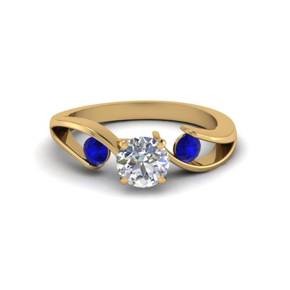 tension set round cut 3 stone diamond engagement ring with sapphire in FDENR1140RORGSABLANGLE1 NL YG