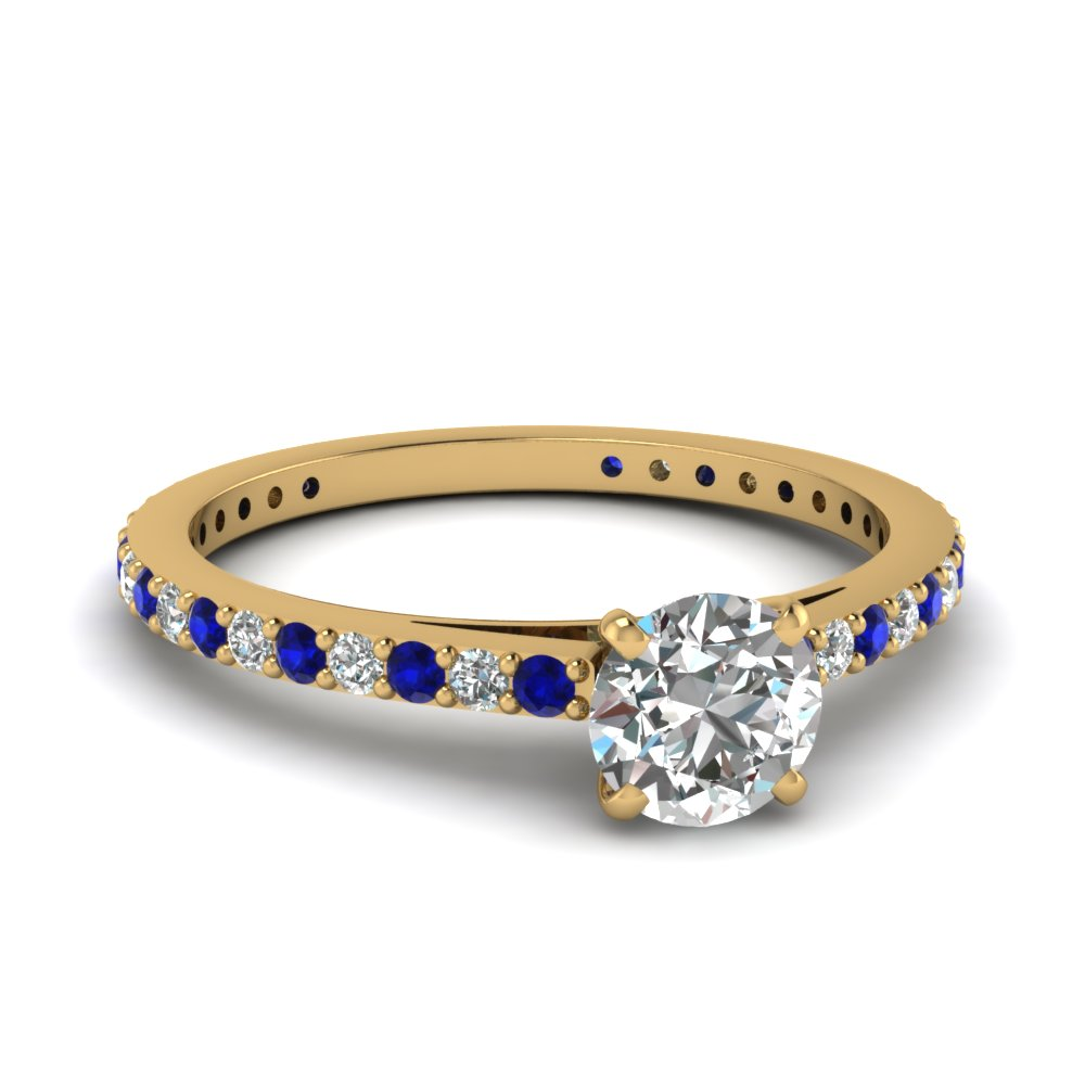 classic delicate round cut diamond engagement ring with sapphire in FDENS1425RORGSABL NL YG