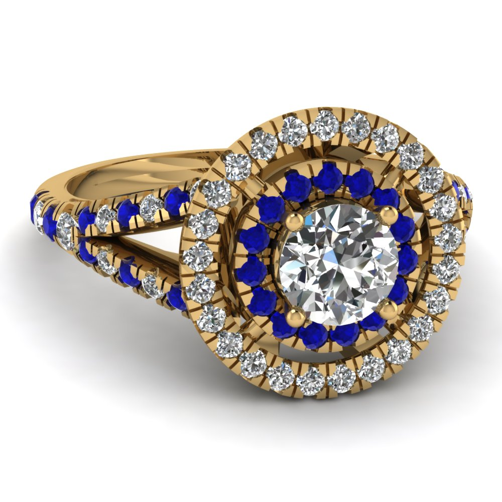 French Prong Round Diamond Yellow Gold Double Halo Ring