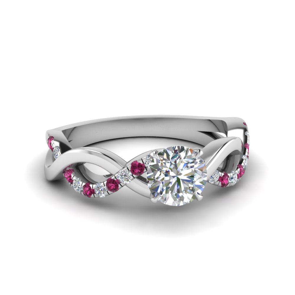 round cut infinity moissanite engagement ring with pink sapphire in FD1122RORGSADRPI NL WG