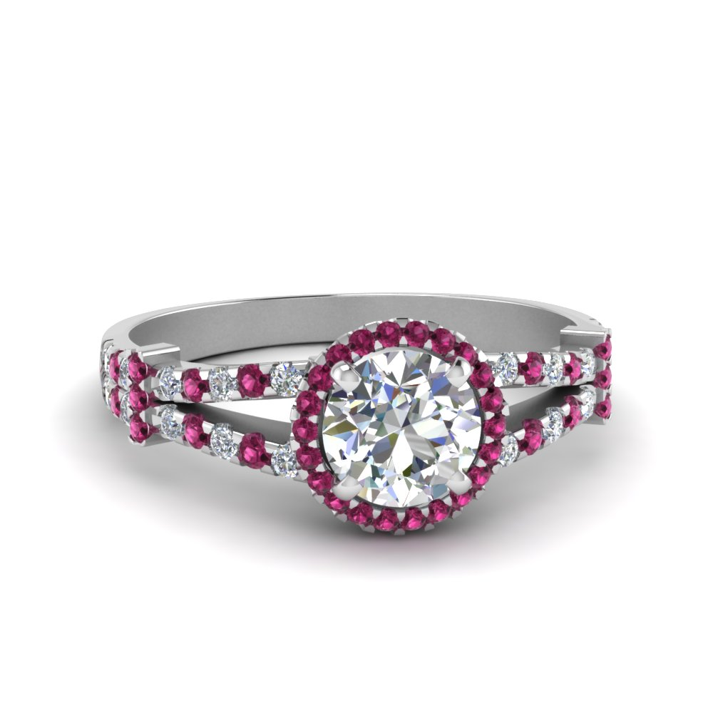 halo pave split shank diamond engagement ring with pink sapphire in FDENS3199RORGSADRPI NL WG