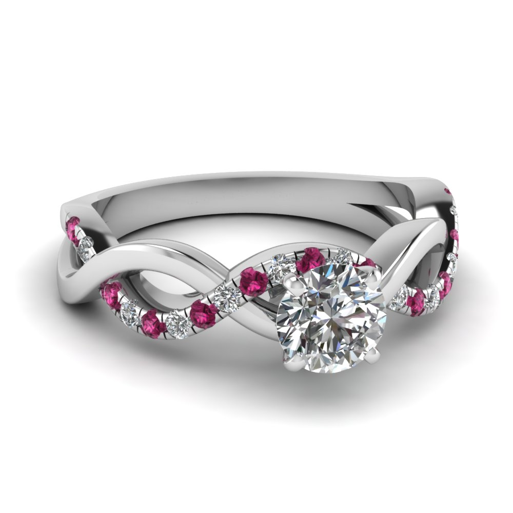 infinity round cut diamond engagement ring with pink sapphire in FD1122RORGSADRPI NL WG