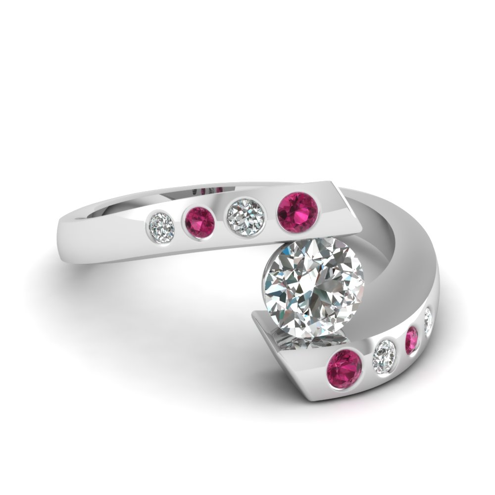 Round Cut Diamond Engagement Ring With Dark Pink Shire In 14k White Gold Fd121032rorgsadrpi Nl Wg