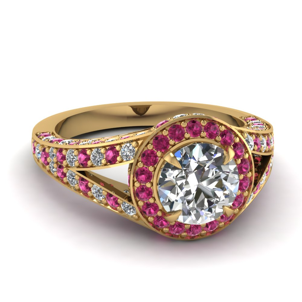 2 ct. diamond pave halo engagement ring with pink sapphire in FD67858RORGSADRPI NL YG