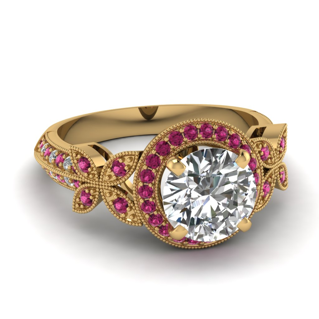round-cut-diamond-engagement-ring-with-dark-pink-sapphire-in-14K-Yellow-gold-FDENS3243RORGSADRPI-NL-YG