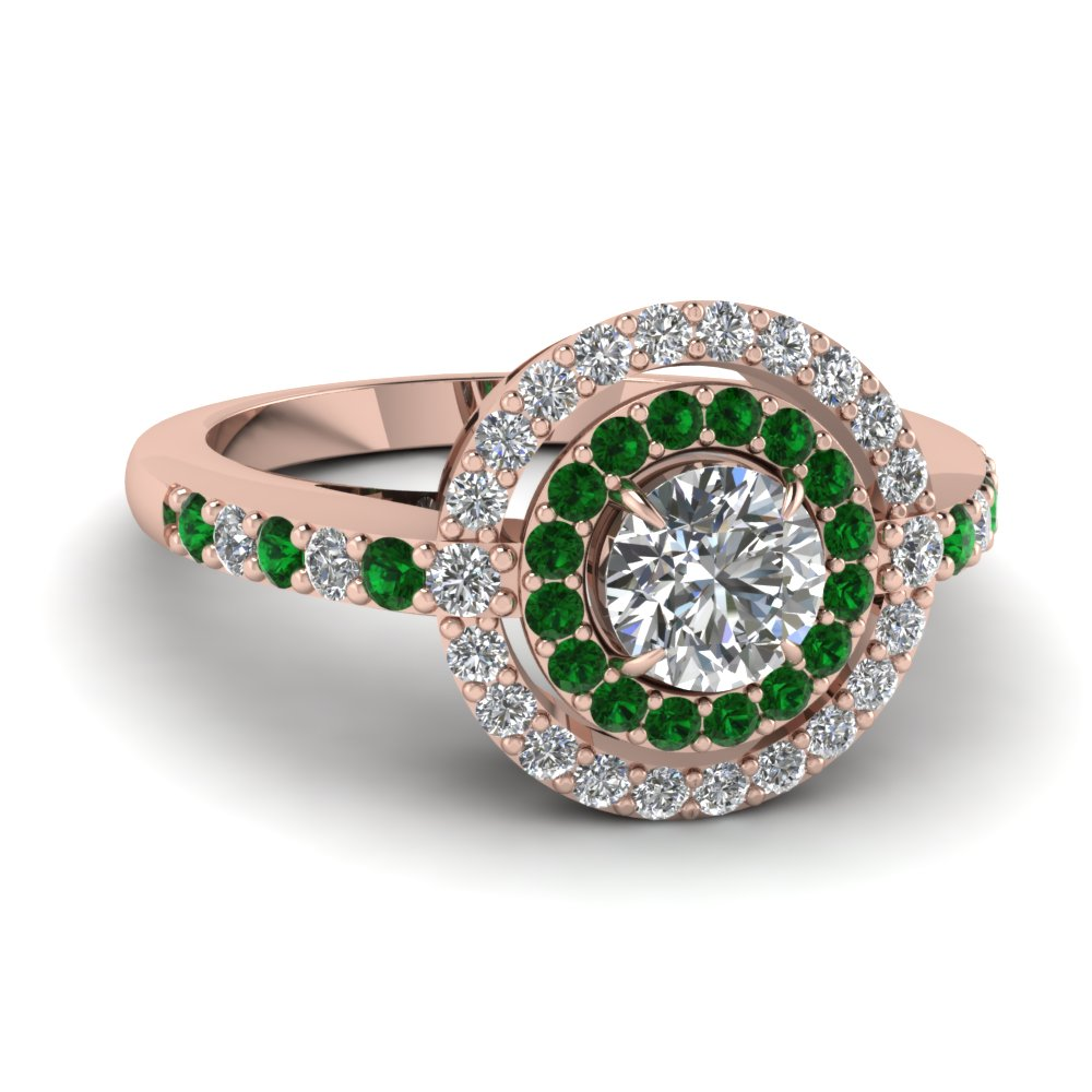 Emerald Double Halo Ring